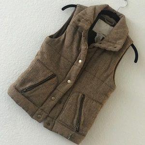 Brown herringbone vest